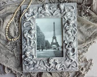 Angels Cherubs Gray Picture Frame Eiffel Tower Paris Romantic Wedding Cottage Shabby Chic French Paris Apartment Victorian Style Decor