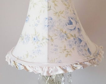 "Rachel Ashwell Lamp Shade Blue British Rose Pattern 9"" High Ruffled White Cotton Shabby Chic Romantic Cottage French Farmhouse Style Decor"