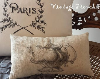 Teapot Pillow Vintage Style 7X12 Black Cream Print Ticking Romantic Shabby Chic Victorian Cottage French Farmhouse Style Decor Accent Pillow