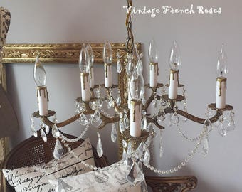 Gorgeous Vintage Brass Chandelier 5 Arm Crystals Beading 10 Lights Romantic Paris Apt French Shabby Chic Cottage Style FREE SHIPPING