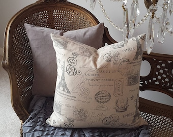Paris Eiffel Tower Pillow Cover 20X20 French Script Gray Print Shabby Chic Cottage French Farmhouse Style Decor Throw Pillow Cover