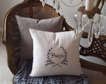 Paris Wreath Pillow Cover 16X16 Vintage BlackCream Print Ticking Romantic ShabbyChic Cottage French Farmhouse Style Decor Throw Pillow Cover