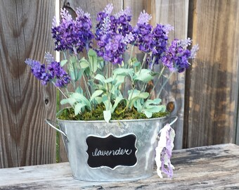 English Lavender Bouquet Galvanized Chalkboard Tub Bucket Farmhouse French Shabby Cottage Style Moss English Garden Wedding Spring Easter