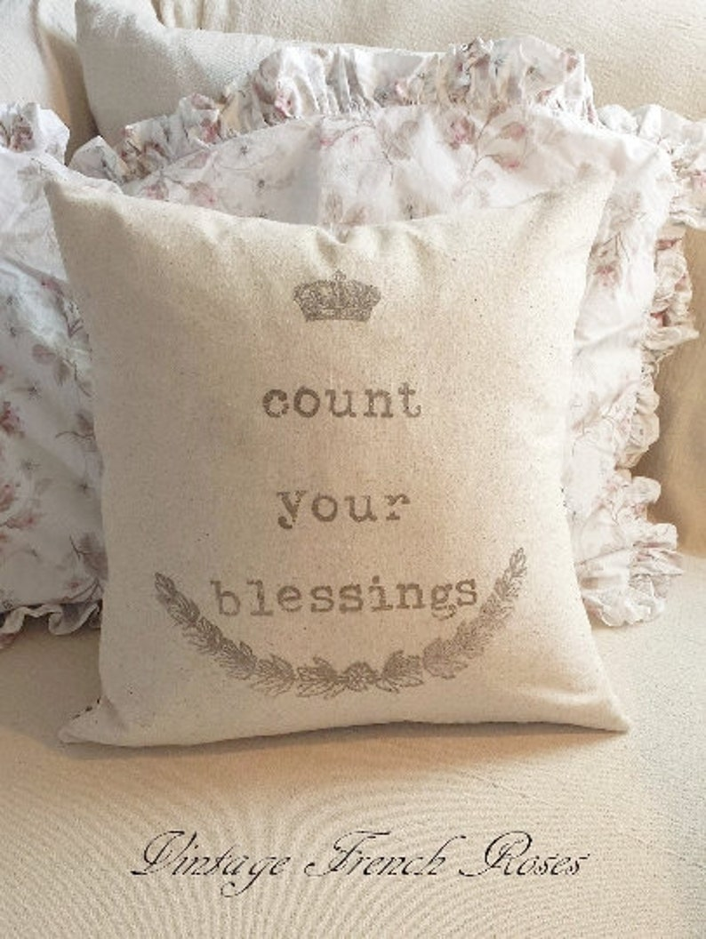 Count Your Blessings Ivory Pillow Cover  18 X 18 image 0