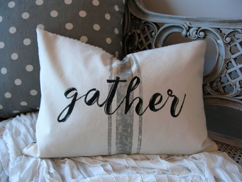 Gather Gray Stripe Quote  Pillow Cover  16 X 12 image 0