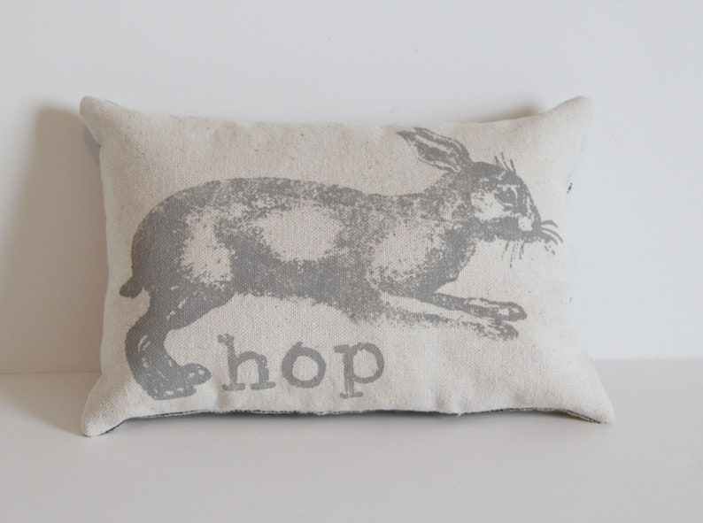 Bunny Rabbit Hop Farm Animals Tiny Pillow  Lavender Filled  image 0