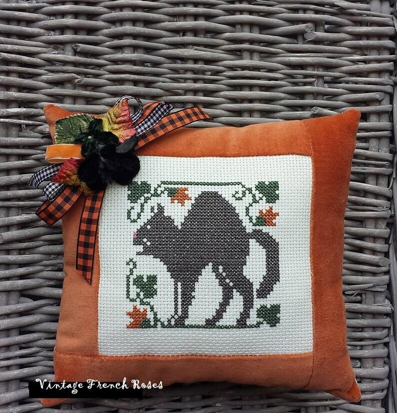 Halloween Black Cat Cross Stitch Tiny Pillow  8 X 8 image 0