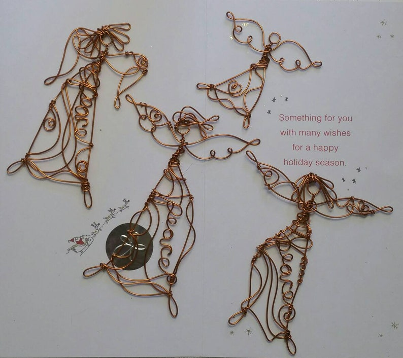 A1 3 fancy wire art Angels and a free minature Send someone you love a unique piece of art Peace Keeper Angels