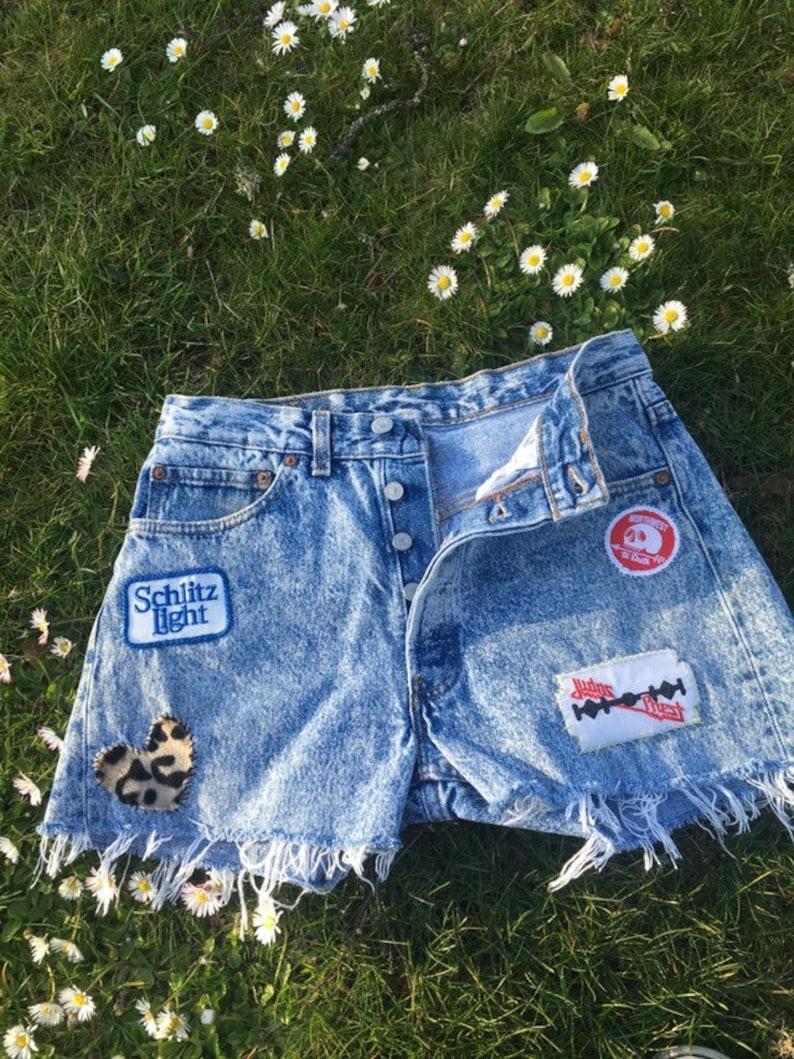 501 Patched Levi\u2019s cut off shorts Waist 31\u201d Acid Wash Vintage