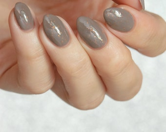 Runaway Rat - custom handcrafted greige grey brown glitter witchcraft and wizardry nail polish