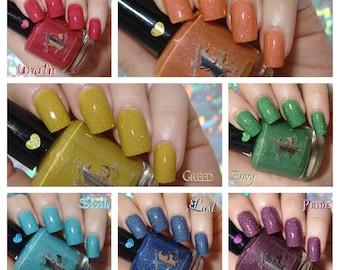 Full Size Seven Deadly Sins - custom holographic micro shred glitter nail polish