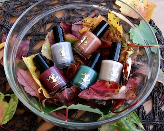 FULL SIZE Fall Blogger Collab Collection with optional scents - holographic fall custom nail polish