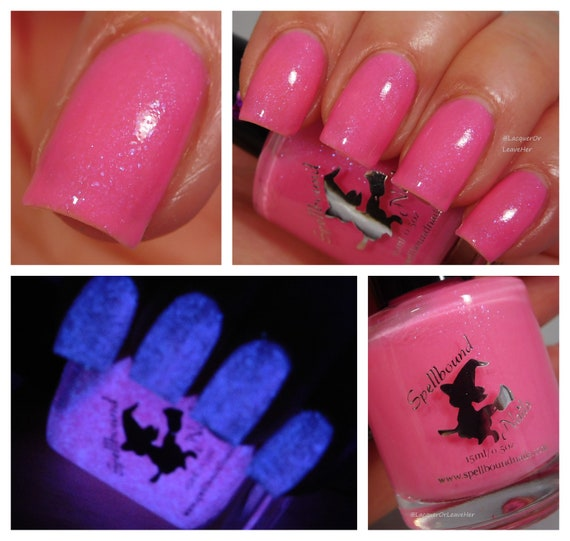 Metamorphmagus , custom Harry Potter inspired neon pink glow in the dark  nail polish