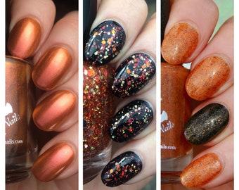 MINI April Oranges - custom Rainbow Monthly orange multichrome glitter topper glow in the dark nail polish