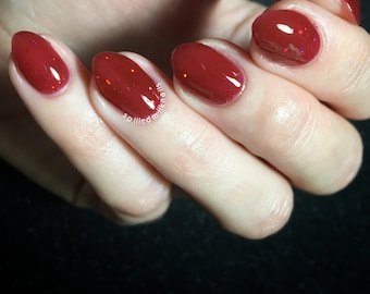 Dirty Blood - custom handcrafted red jelly holographic glitter nail polish