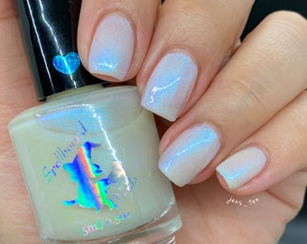 Ghostly Guardian - custom pearly sheer blue purple shift shimmer glow in the dark nail polish