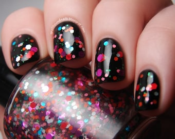 Madness is Catching - custom glitter topper alice in wonderland mad hatter inspired nail polish