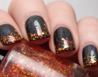 Napalm Bomb - custom red orange yellow hex square glitter topper nail polish