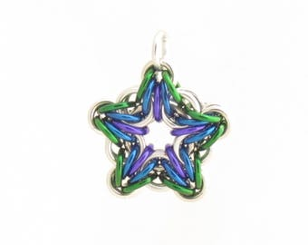 Star Pendant, Chain Maille Pendant, Star Charm, Handmade Chain Maille Jewelry