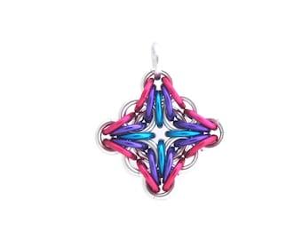 Filigree Pendant, Chain Maille Pendant, Multicolor Jewelry, Diamond Pendant, Aluminum Jewelry, Jump Ring Jewelry
