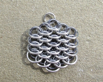Chain Maille Pendant, Gray Pendant, Mini Dragonscale Pendant, Jump Ring Jewelry