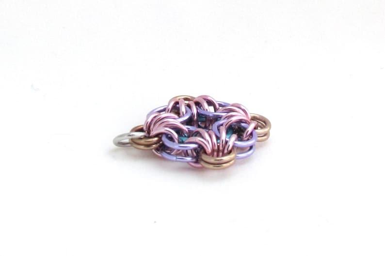 Diamond Shaped Pendant Chain Maille Pendant Jump Ring Jewelry Pastel Jewelry Multicolor Pendant