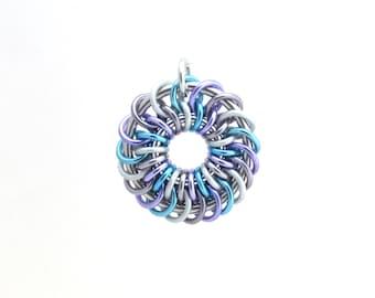 Chain Maille Pendant, Pastel Jewelry, Jump Ring Jewelry, Multicolor Pendant, Aluminum Pendant