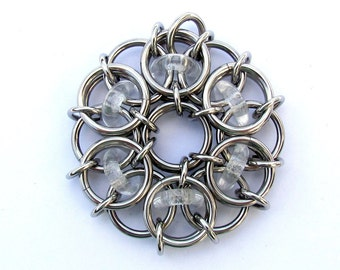 Clear Pendant, Glass Pendant, Chain Maille Pendant, Clear Glass and Stainless Steel, Jump Ring Jewelry