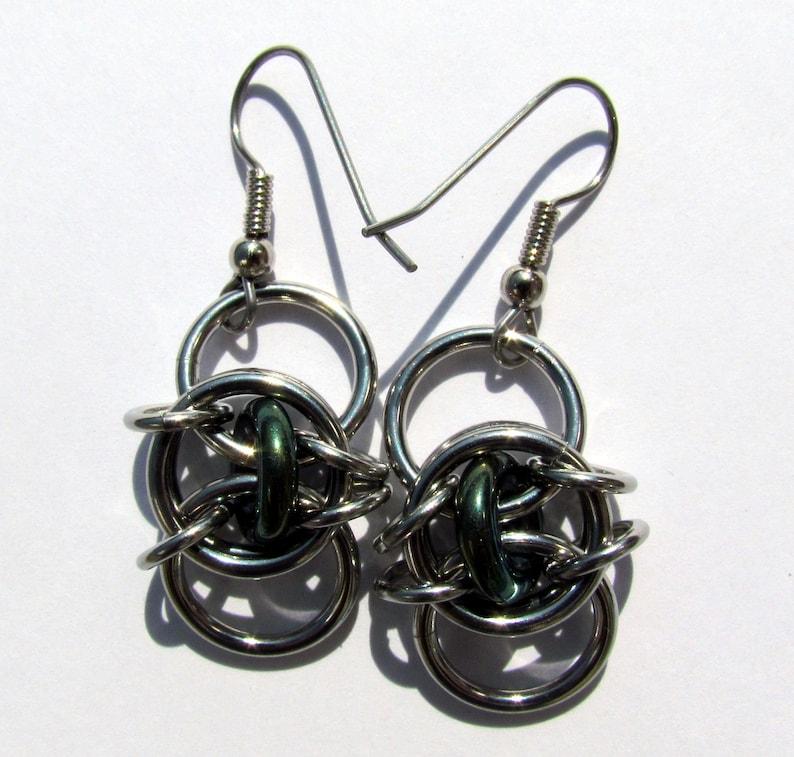 Chain Maille Earrings Glass Earrings Iris Green Earrings image 0