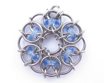 Blue Glass Pendant, Chain Maille Pendant, Light Sapphire Blue Pendant, Glass Jewelry, Blue Jewelry