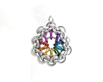 Rainbow Pendant, Chain Maille Jewelry, Jump Ring Jewelry, Jens Pind, Multicolor Pendant, Circle Pendant