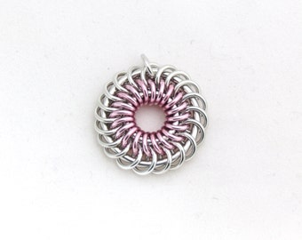 Pink Pendant, Pastel Pendant, Chain Maille Jewelry, Jump Ring Jewelry, Aluminum Pendant
