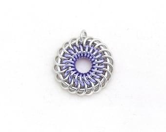Purple Pendant, Lavender Purple Jewelry, Chain Maille Pendant, Aluminum Pendant, Jump Ring Jewelry