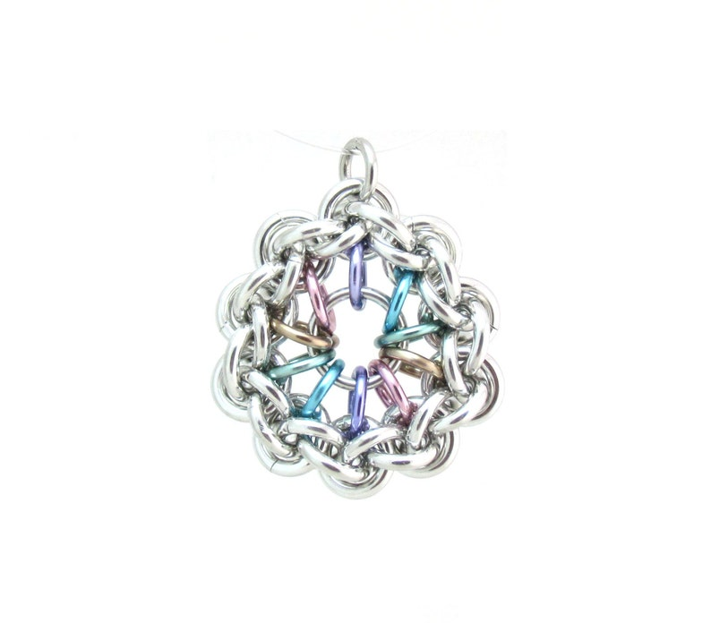Pastel Jewelry Chain Maille Pendant Multicolor Pendant Jump image 0