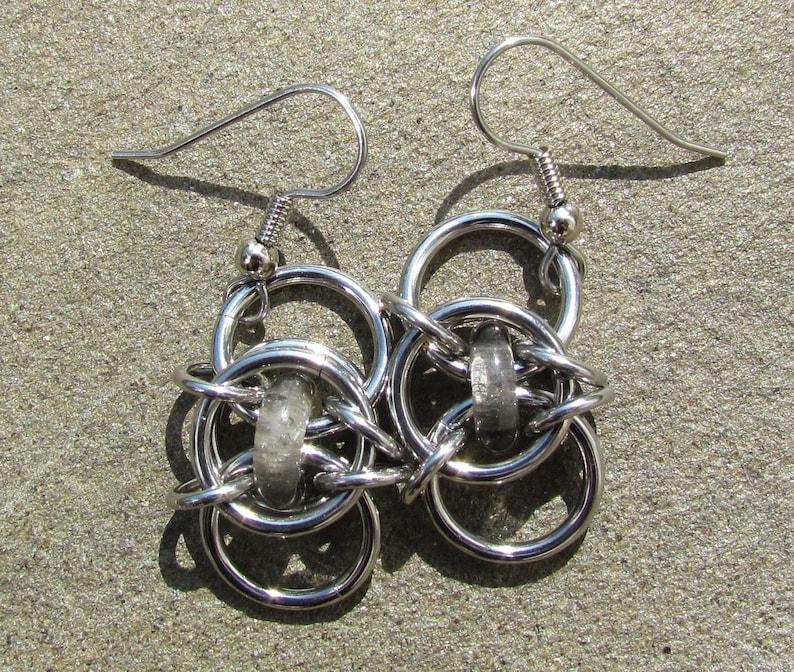 Chain Maille Earrings Glass Earrings Smoke Gray Glass Grey image 0