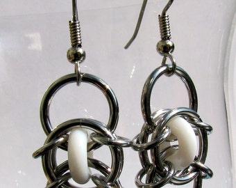 Chain Maille Earrings, Glass Earrings, White Earrings, Glass Jewelry, Jump Ring Jewelry