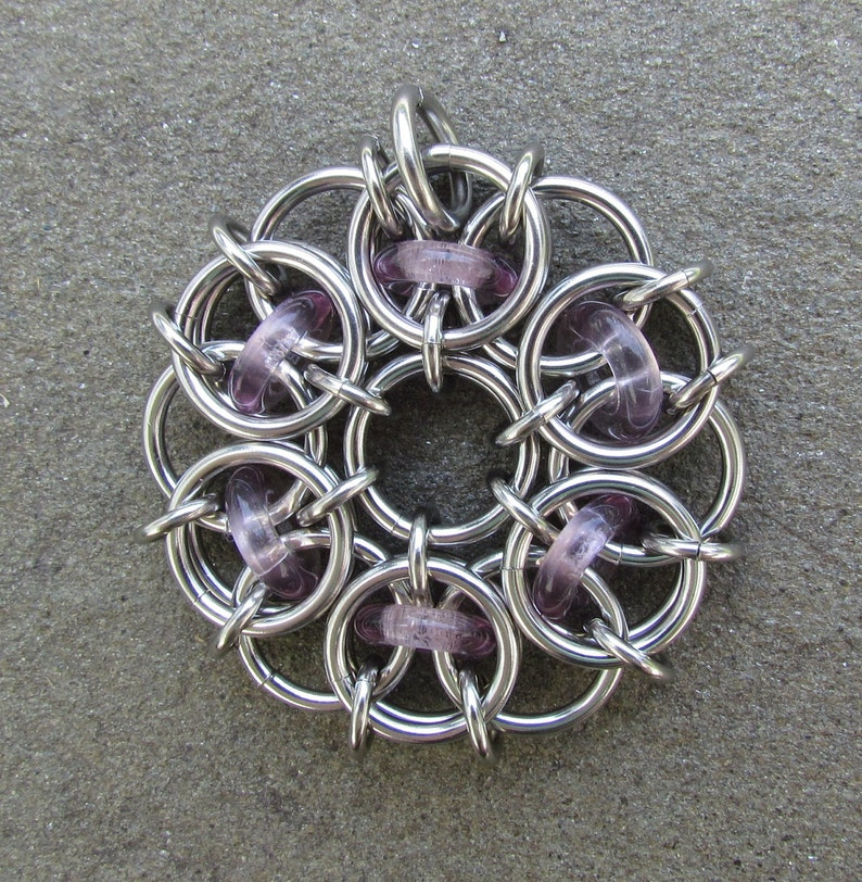 Purple Pendant Chain Maille Pendant Glass Pendant Light image 0