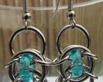 Turquoise Blue Earrings, Chain Maille Earrings, Glass Earrings, Blue Glass Jewelry