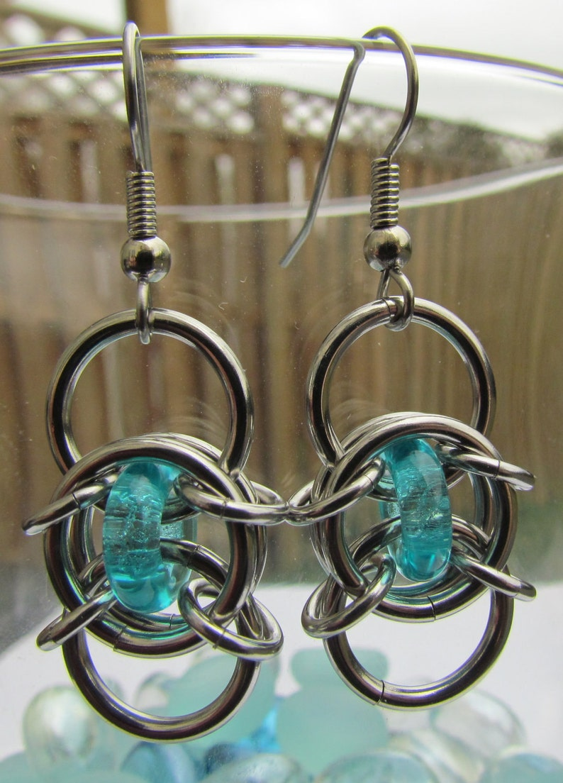 Turquoise Blue Earrings Chain Maille Earrings Glass image 0