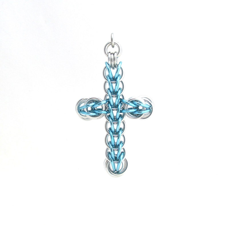 Blue Cross Pendant Chain Maille Cross Chain Maille Jewelry image 0