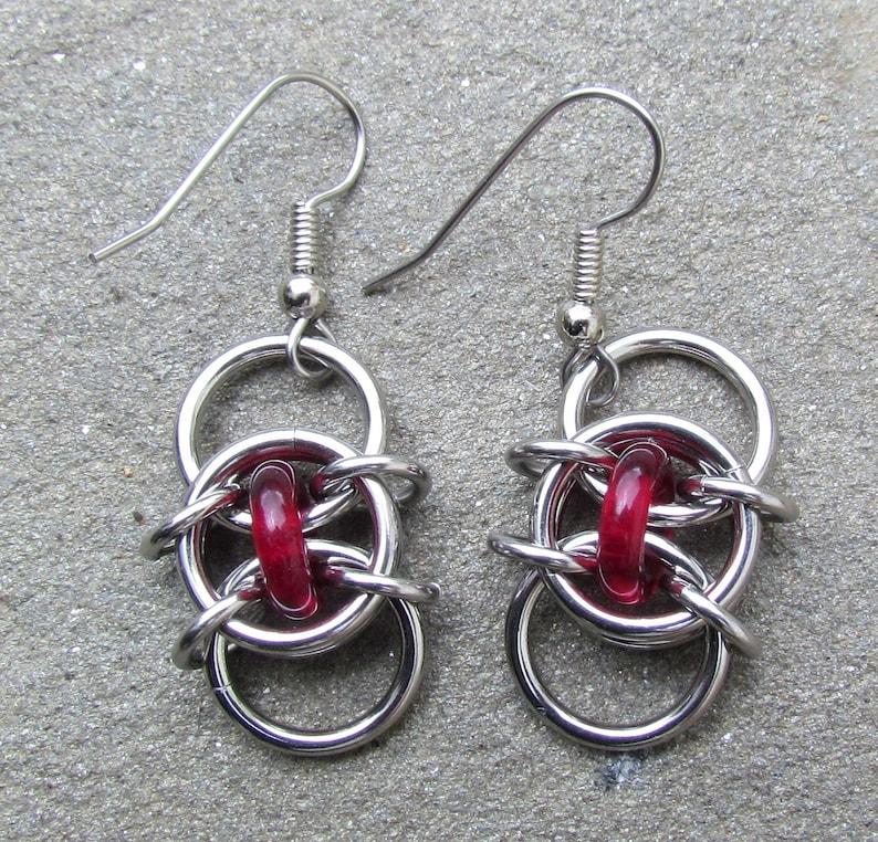 Ruby Red Earrings Glass Earrings Chain Maille Earrings Red image 0