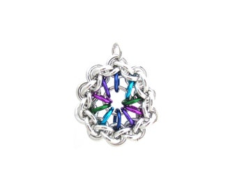 Jump Ring Pendant, Chain Maille Jewelry, Multicolor Jewelry, Chain Maille Pendant, Jump Ring Jewelry