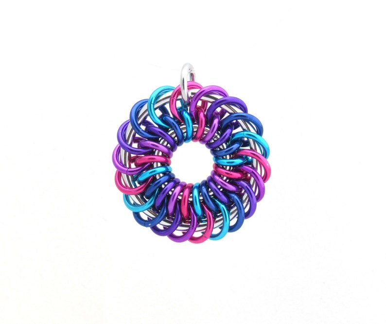 Chain Maille Pendant Spiral Jump Ring Pendant Multicolor image 0