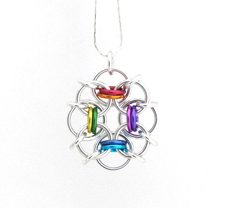 Rainbow Pendant Chain Maille Jewelry Multicolor Pendant image 0
