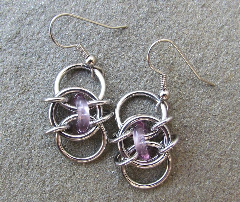 Chain Maille Earrings Purple Earrings Light Amethyst Glass image 0