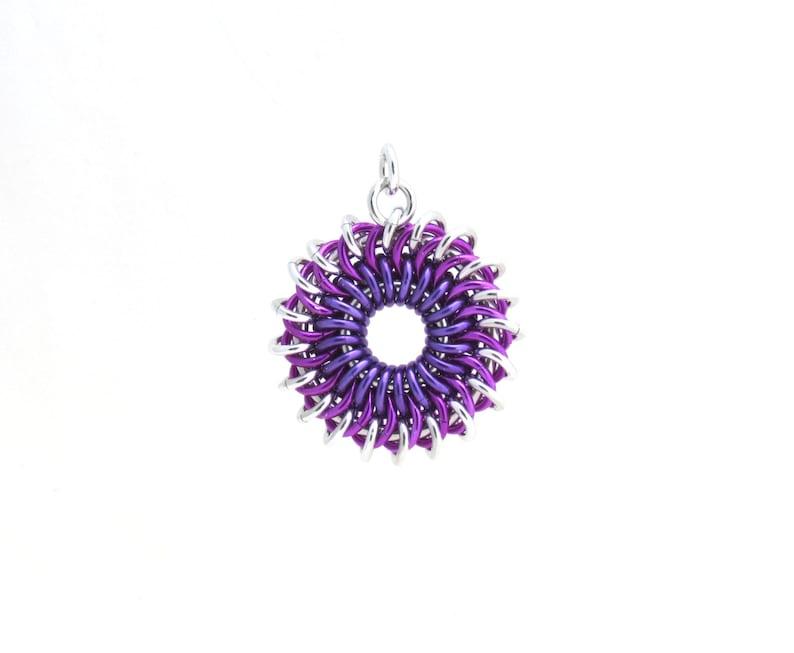 Sunburst Pendant Chain Maille Pendant Handmade Jewelry image 0