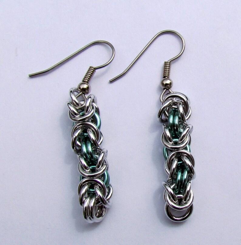 Chain Maille Earrings Byzantine Earrings Seafoam Green image 0