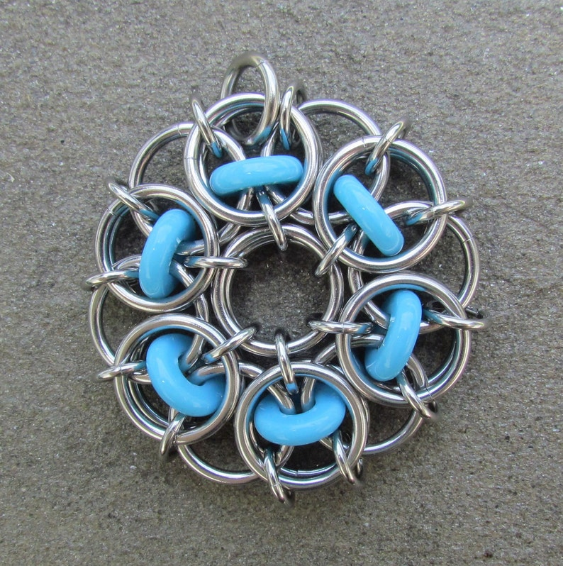 Turquoise Pendant Chain Maille Pendant Glass Pendant Opaque image 0
