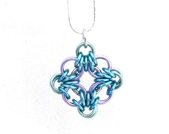 Chain Maille Pendant, Pastel Jewelry, Multicolor Pendant, Diamond Shaped Pendant, Handmade Pendant