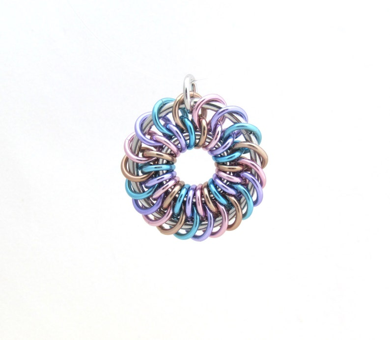 Pastel Jewelry Chain Maille Pendant Jump Ring Jewelry image 0